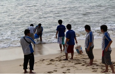 Getting seawater from the sea