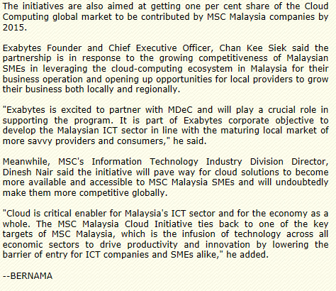 Exabytes and MDeC Sign MoU to advance ICT Growth for SME Companies