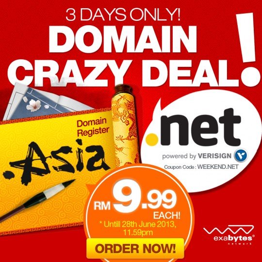 .NET or .ASIA at RM9.99 a year