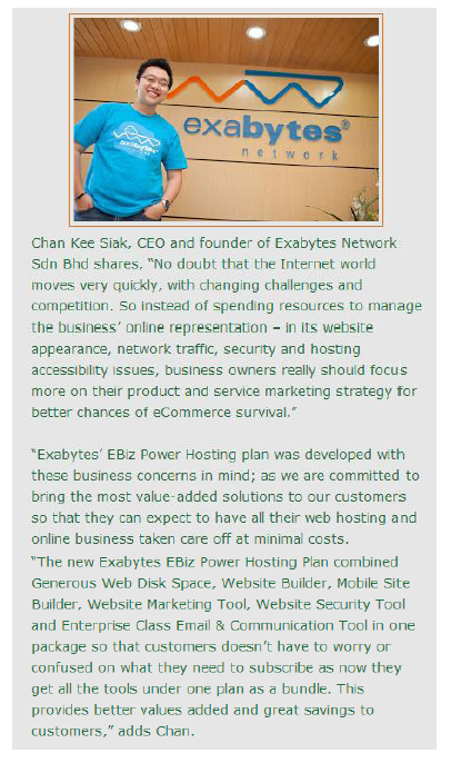 Exabytes Launches EBiz Power Hosting with Mobility Features