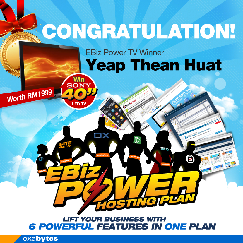 EBiz Power Hosting plan TV Winner