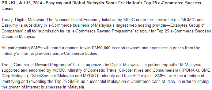 easy.my and digital malaysia scour for nation's top 25 e-commerce success cases