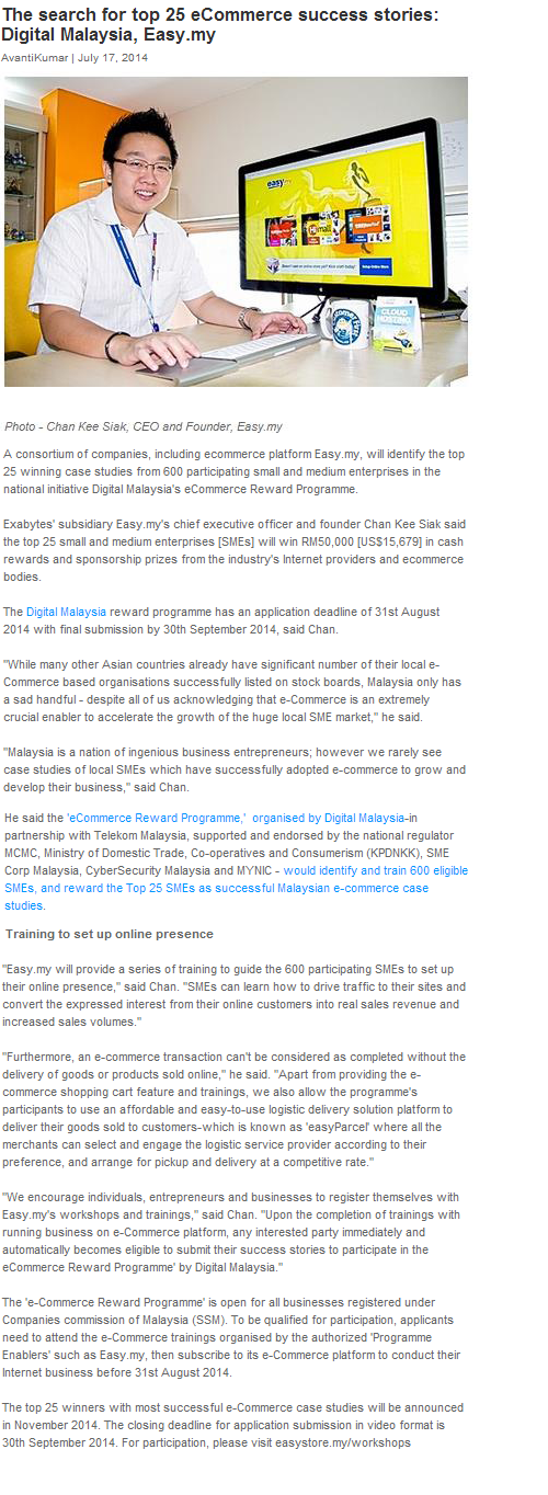 The search for top 25 eCommerce success stories: Digital Malaysia, Easy.my