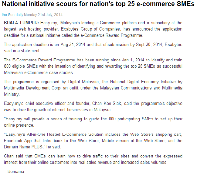 National Initiative Scours for Nation's Top 25 E-commerce SMEs in Malaysia