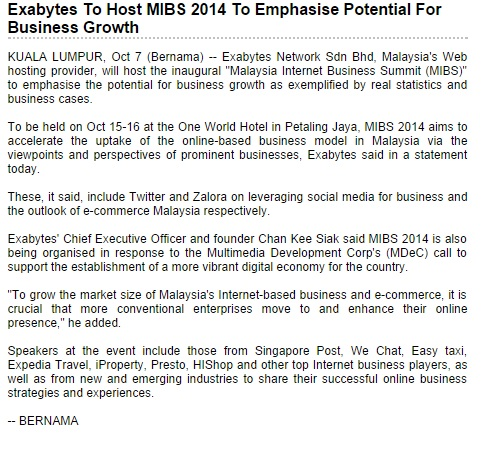 Exabytes to host MIBS 2014 to emphasise potential for business growth - BERNAMA