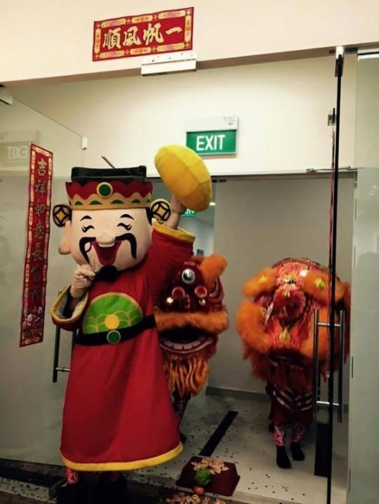 lion dance at Exabytes Singapore office