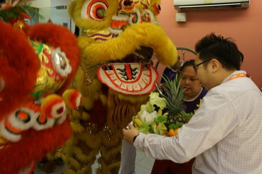 lion dance performance at Exabytes Puchong office