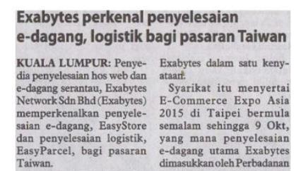 Exabytes in Utasan Borneo Sarwak