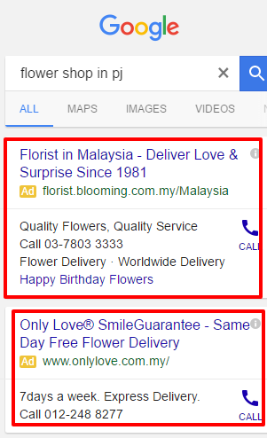 Google Ads - Flower mobile example