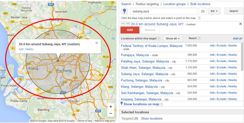 Google Ads - geo-targeting radius