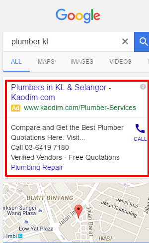 Google Ads - plumber mobile example