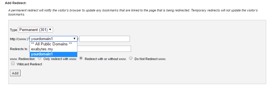 Select The Domain You Wish To Redirect