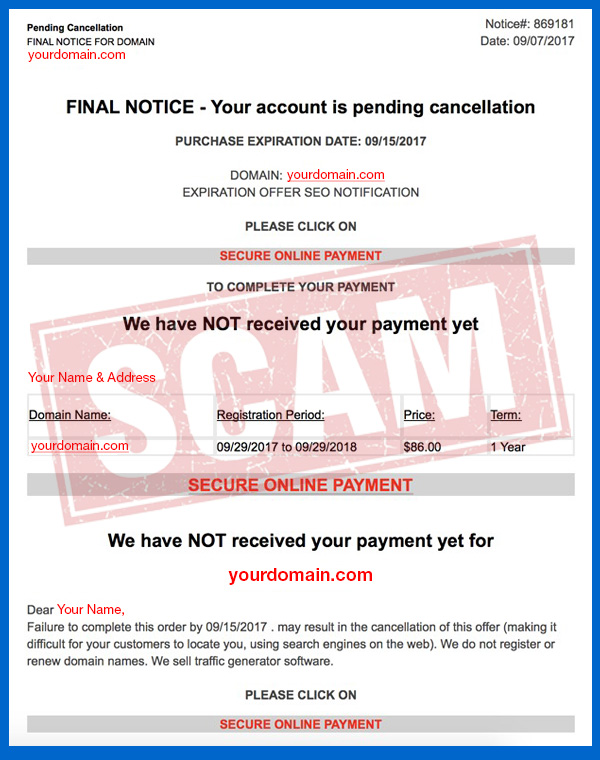 example of domain name scam invoice