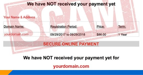 example of online scam for domain name renewal