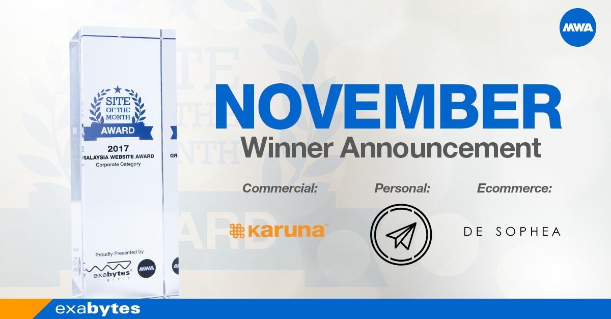 MWA 2017 November Winner announcement