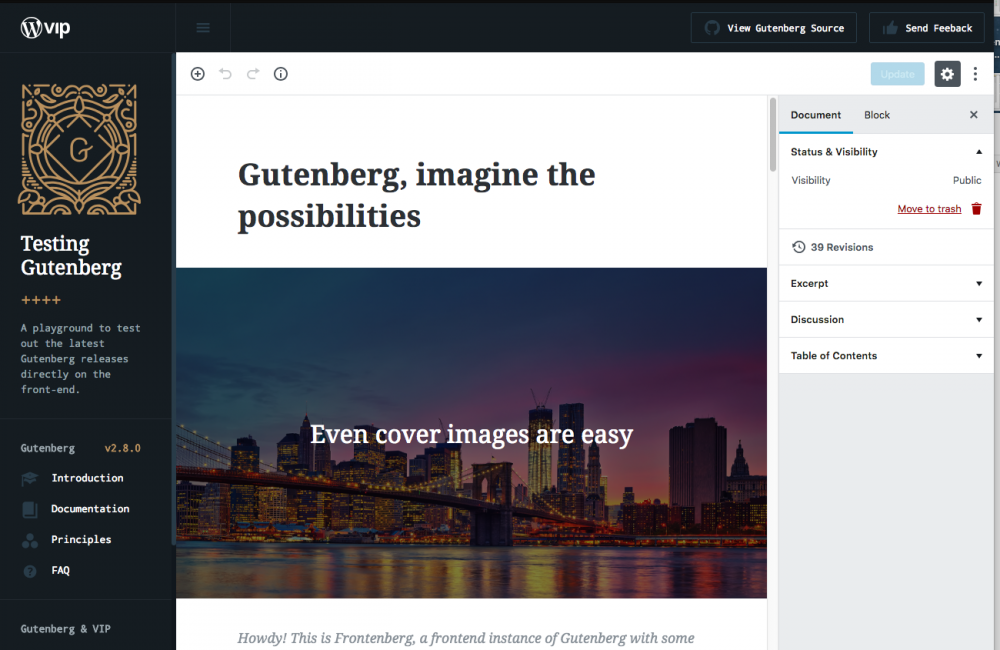 Gutenberg live demo website