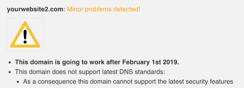 Minor problems detected on your domain test