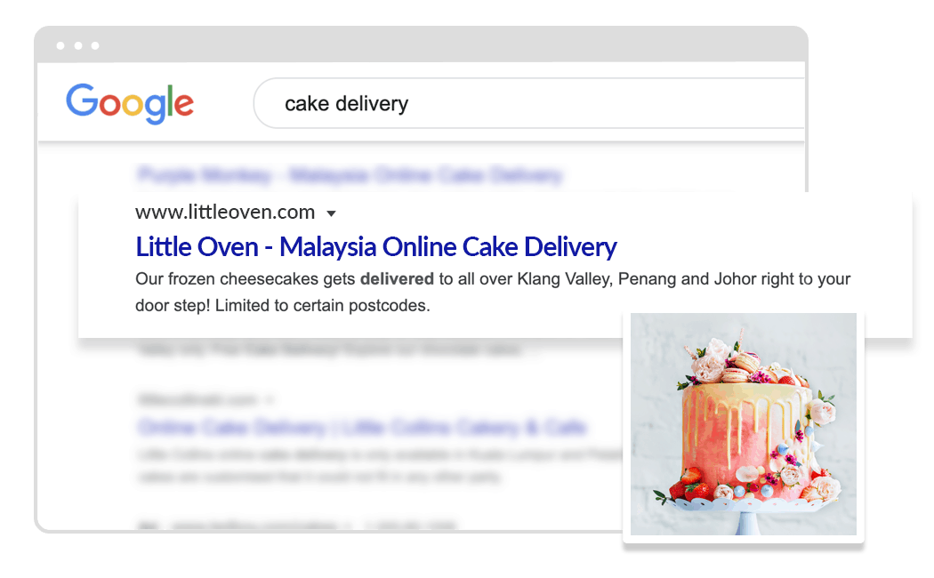 cake delivery on google search result
