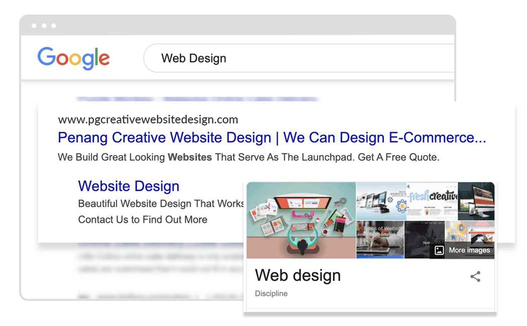 web design on google search result