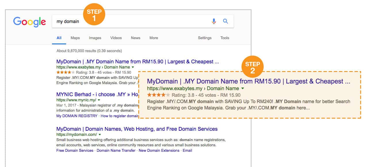 MY domain search