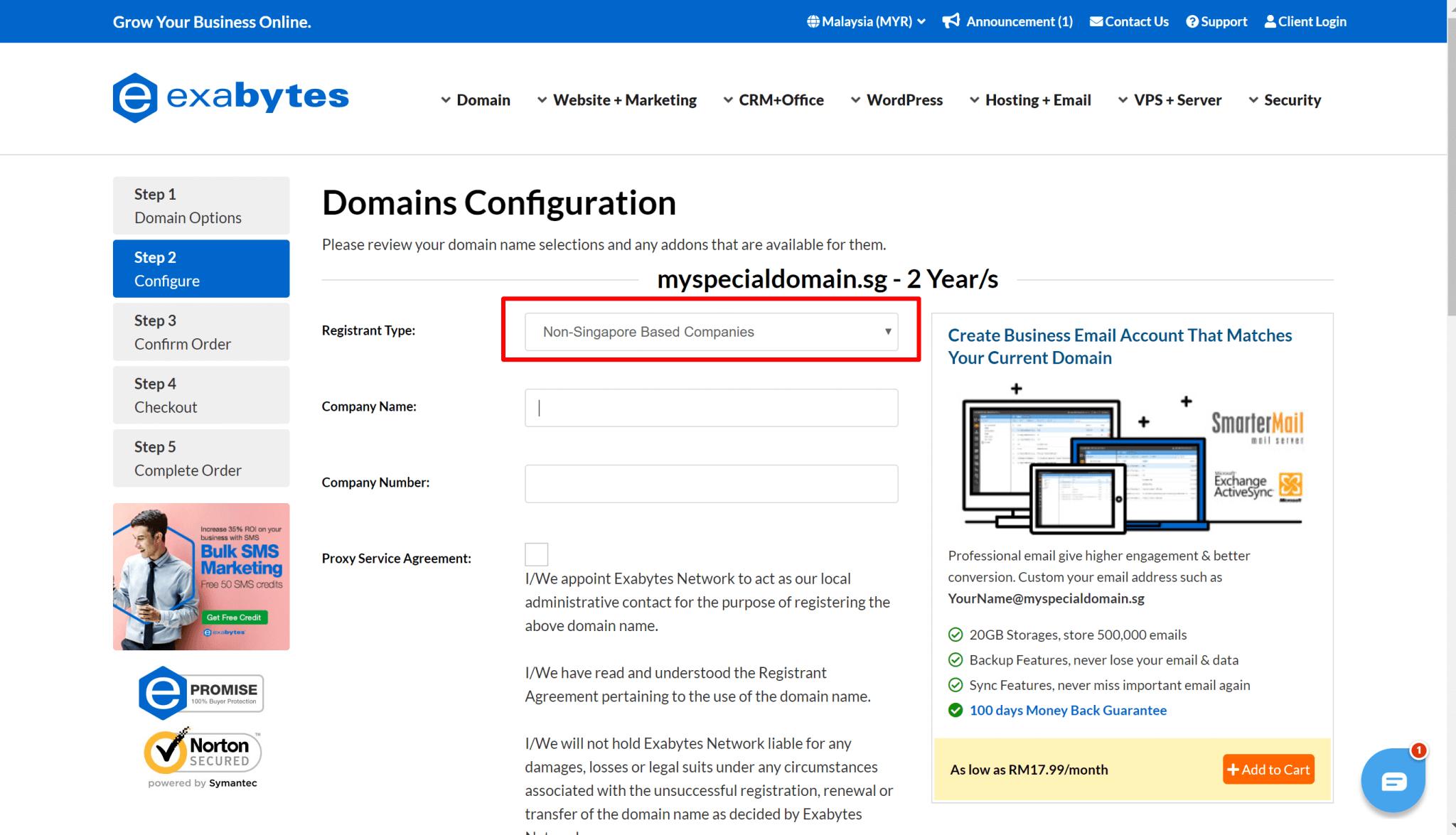 register domain step 2